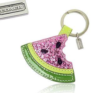 Coach Glitter Multicolored Watermelon Key Ring Fob